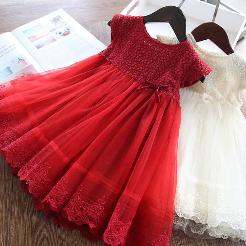 Image 1 - Red Kids Dresses For Girls Flower Lace Tulle Dress Wedding Little Girl Ceremony Party Birthday Dress Children Autumn ClothingDresses   -