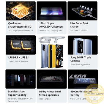 Смартфон Realme GT Snapdragon 888, ОЗУ 8 Гб, ПЗУ 128 ГБ, NFC 3