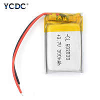 Polymer lithium battery 602030 300mAh 3.7V Li-po Rechargeable li ion Battery for Bluetooth Pen Camera GPS MP5 MP3 MP4 1/2/4Pcs