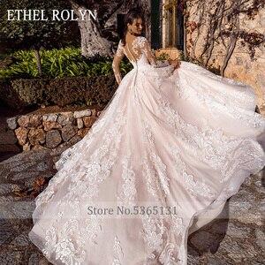 Image 2 - ETHEL ROLYN Pink Long Sleeve Wedding Dresses 2020 Vestido De Noiva Romantic Appliques Button Illusion Princess Wedding Gowns New