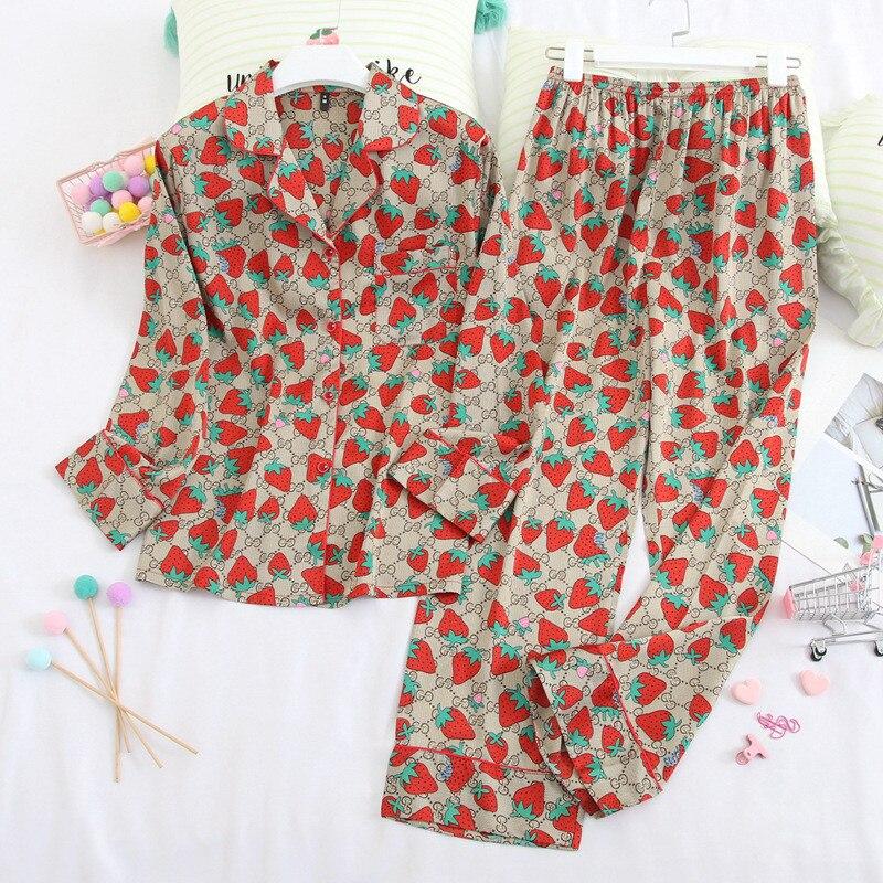 Pijamas Mujer Women's Pants Pajama Strawberry HomeWear Women's Home Casual Set Pajama Sets Women Vintage Nightdresses