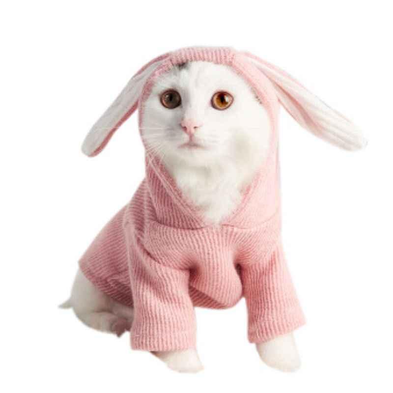Leuke Franse Bulldog Hooded Jasje Winter Warm Huisdier Jumpsuit Voor Honden Katten Zoete Konijnenoren Vorm Puppy Kat Kleding kostuum