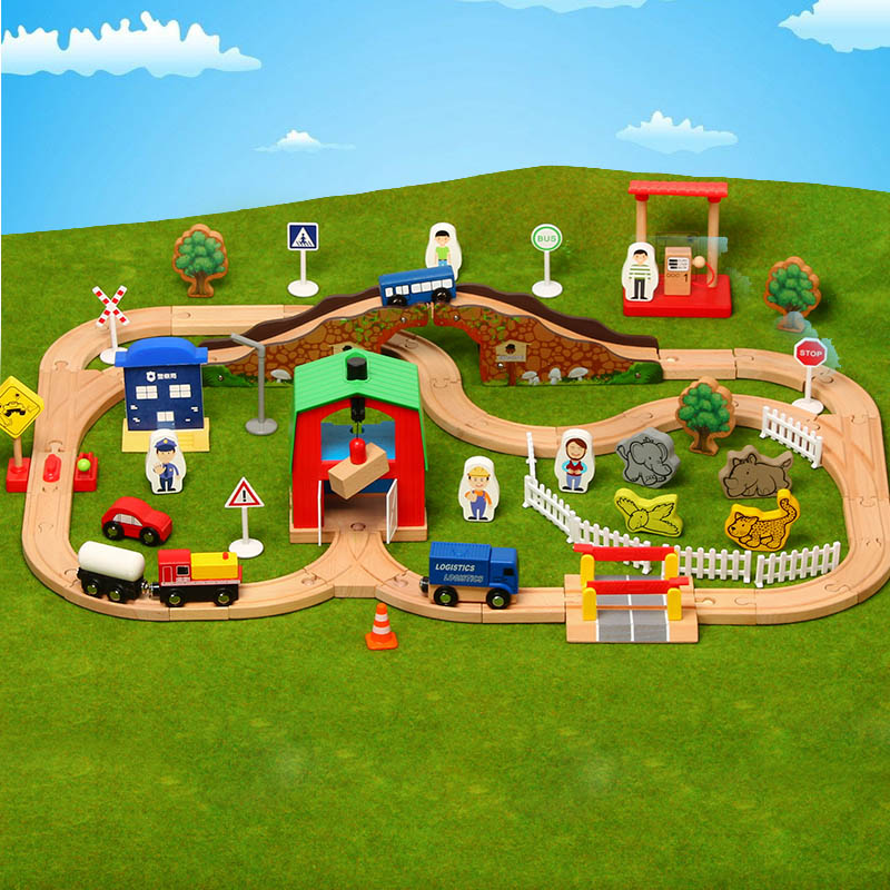 Image 3 - Wooden Train Track Set Wooden Railway In Puzzle With And friends Tracks Rail Transit  Brio Wooden Railway Toys For Kids Gifts-in Diecasts & Toy Vehicles from Toys & Hobbies