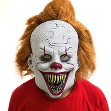 Pennywise Joker Mask Open Mouth Full Teeth Cosplay Stephen King It Chapter Two Clown Latex Masks Helmet Halloween Party Props(China)
