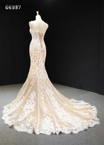 Image 4 - Champagne Lace Simple Wedding Dresses 2020 Sleeveless Mermaid Bridal Gowns