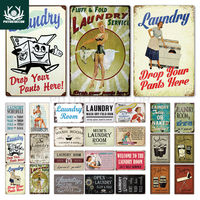Laundry Sign Vintage Tin Sign Plaque Metal Vintage Retro Metal Sign Wall Decor for Laundry Room|Plaques & Signs| |  -