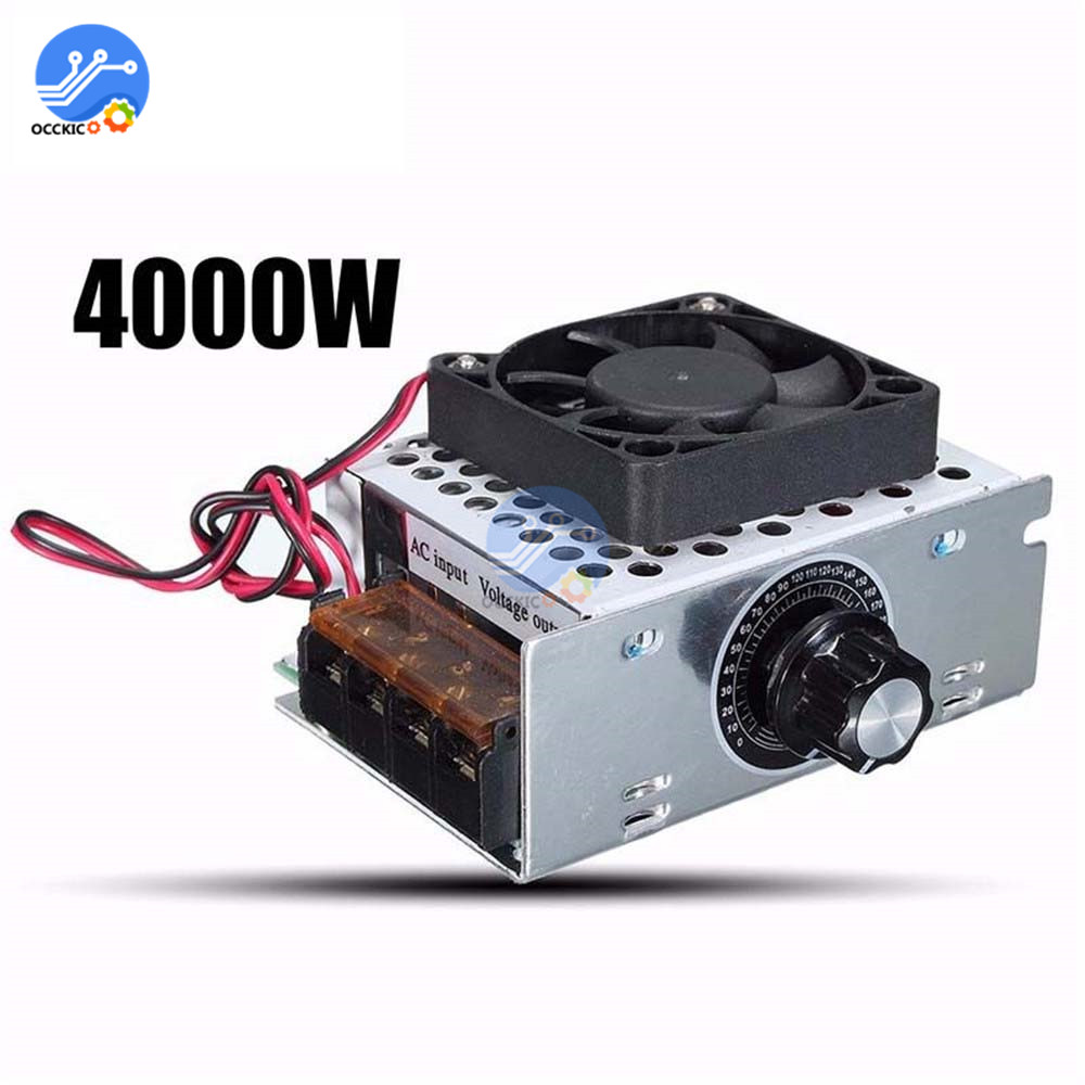 4000W 220V AC SCR Voltage Regulator Electric Motor Speed Controller With Fan Thermostat Dimmer Aluminum Shell High Quality
