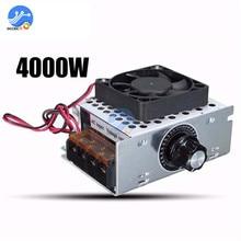 4000W 220V AC SCR Regolatore di Tensione Regolatore di Velocità del Motore Elettrico Con Ventilatore Termostato Dimmer Guscio In Alluminio di Alta Qualità