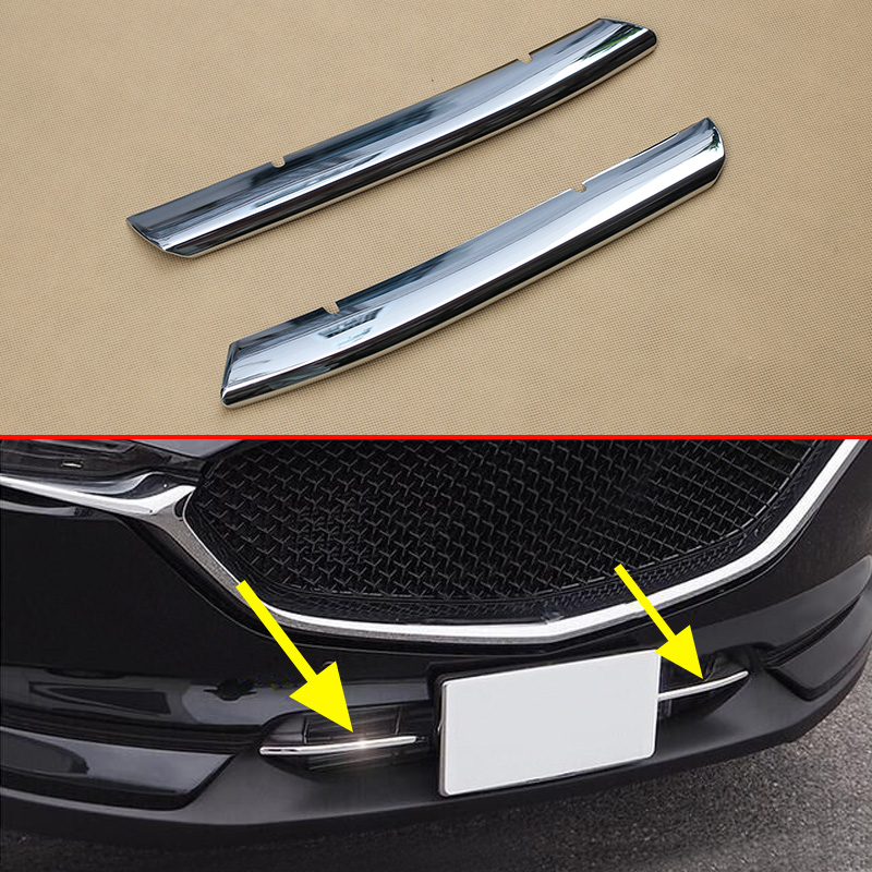 Chrome Grill Strips <font><b>For</b></font> <font><b>Mazda</b></font> <font><b>CX</b></font>-<font><b>5</b></font> 2017 2018 <font><b>2019</b></font> <font><b>Bumper</b></font> Air-inlet Grille Trims CX5 2 Generation Accessories image