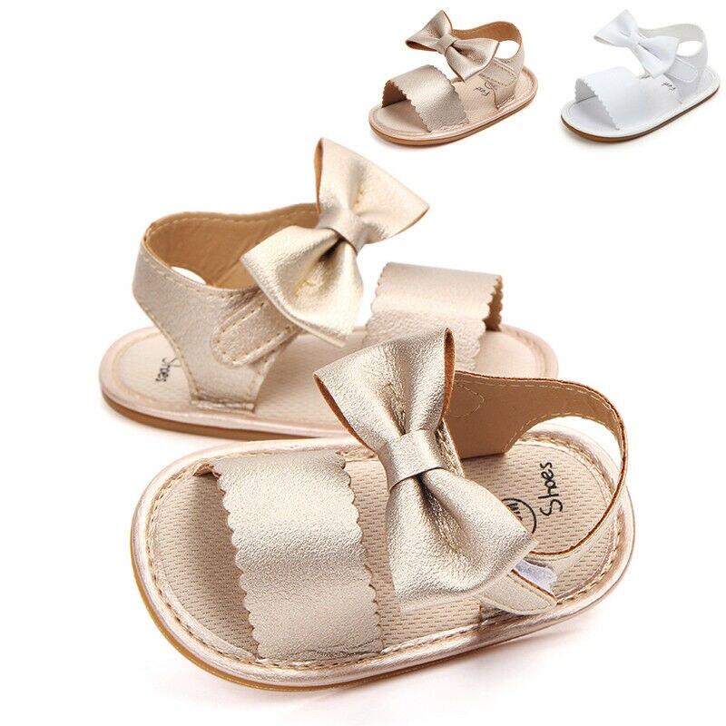 0-18M Summer Cute Newborn Infant Baby Girls Non-slip PU Leather Bowknot Sandals Princess Party Soft Sole Crib Shoes Prewalker