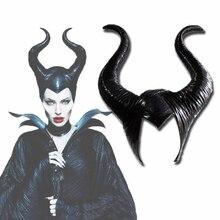 Movie Maleficent Mask Halloween Cosplay  Black Ox horn Headwear Latex Masks Witch Prop