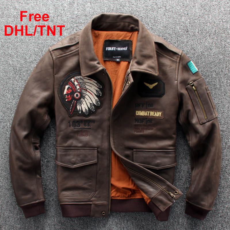 Mens Genuine Leather Jackets Cow Leather Coat Fashion Indian Motorcycle Biker Outerwear Jacket Male Free DHL/TNT Fast Ship