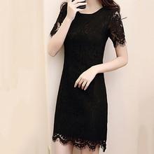 new Summer Women Hollow Crochet Lace Dress Ladies Round Neckline Short Sleeves Slim Temperament Long Dresses