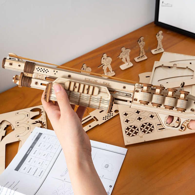 Robotime بندقية نموذج بناء عدة ألعاب الجمعية ألعاب هدية للأطفال أطفال بنين هدية عيد ميلاد