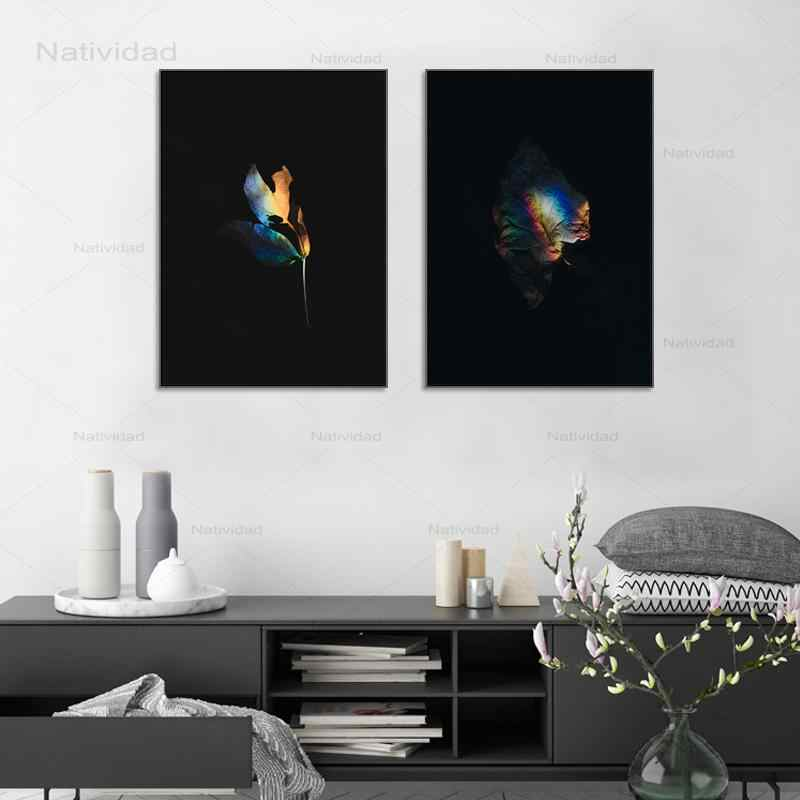 Черный преломления света красочные листья растений плакаты и принты настенный художественный холст картины современный минималистский украшения дома