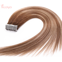 Yesowo #4/24/4 High Quality Indian Tape Hair Cuticle Align Hair PU Skin Weft Highlight 100% Remy Hair Extensions Ombre