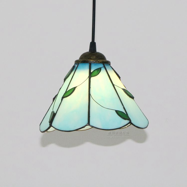 Modern Tiffany Baroque Stained Glass Suspended Luminaire E27 LED Iron Chain Pendant Light Lamp for Home Parlor Dining Room - 3