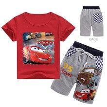 Summer Baby Boy Clothes Cartoon Pixar Cars Lightning McQueen Print Kid Girl Children Top Tee Short Sleeve T Shirt+Short 2Pcs Set