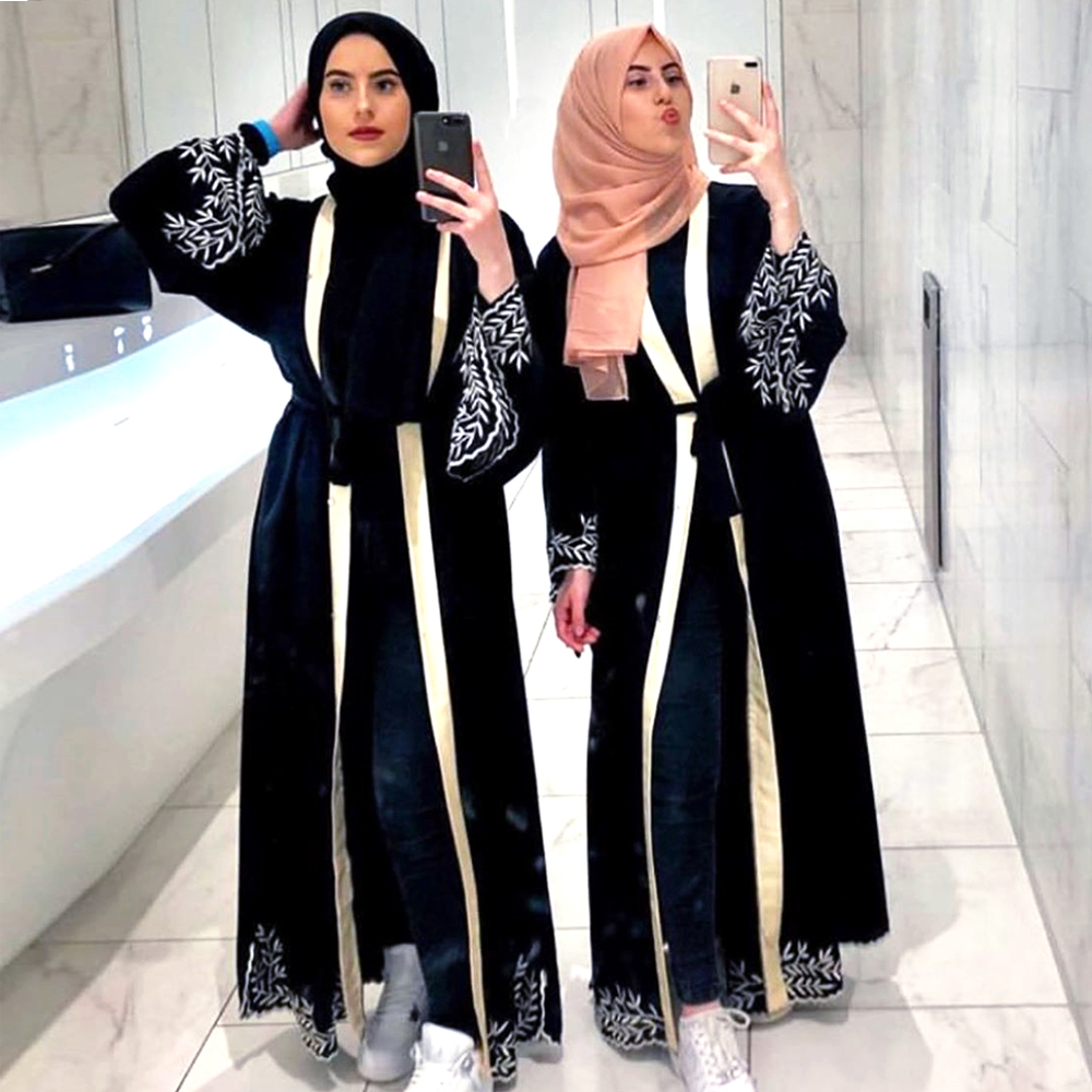 Ladies Black Abaya Dubai Kimono Cardigan Hijab Muslim Dress Women Islam Caftan Marocain Kaftan Qatar Ramadan Islamic Clothing