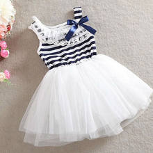The Little Girl Lovely Summer Dress Lace Yarn Body Striped Bow Sweet Princess Dresses Party Children's Clothing(China)