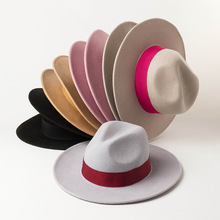01908 HH8147 ใหม่ฤดูใบไม้ร่วงฤดูหนาวผ้าขนสัตว์ริบบิ้น fedoras หมวกแจ๊สหมวกปานามา