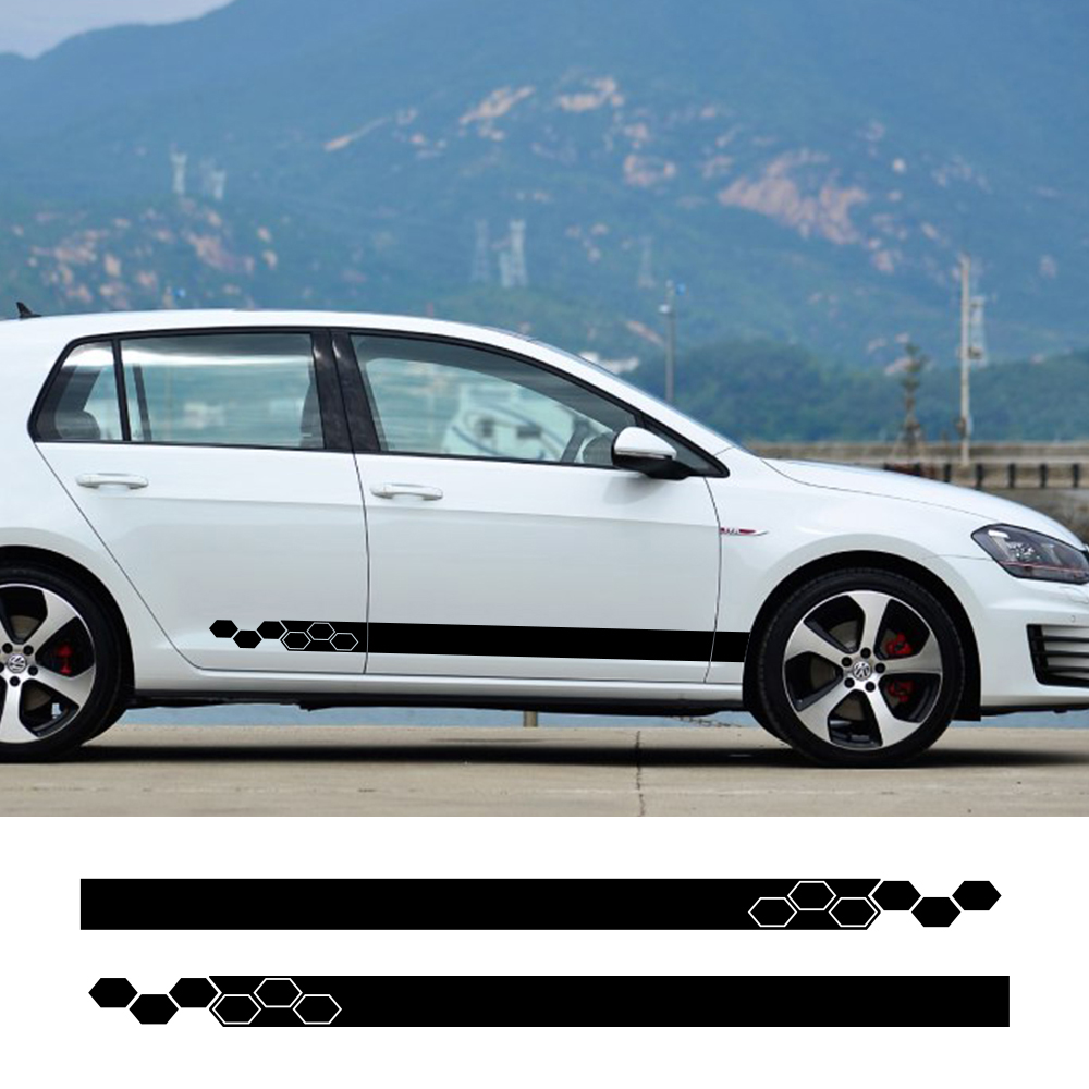 Car Stickers Door Side Skirt Vinyl Wrap Racing Decals For Volkswagen VW Golf 4 5 6 7 MK3 MK4 MK5 MK6 Polo Auto Car Accessories