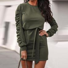 Autumn Long Sleeve Casual Pleated Dress 2020 Winter Solid Women Round Neck Sashes Dress Female Bandage Mini Dress