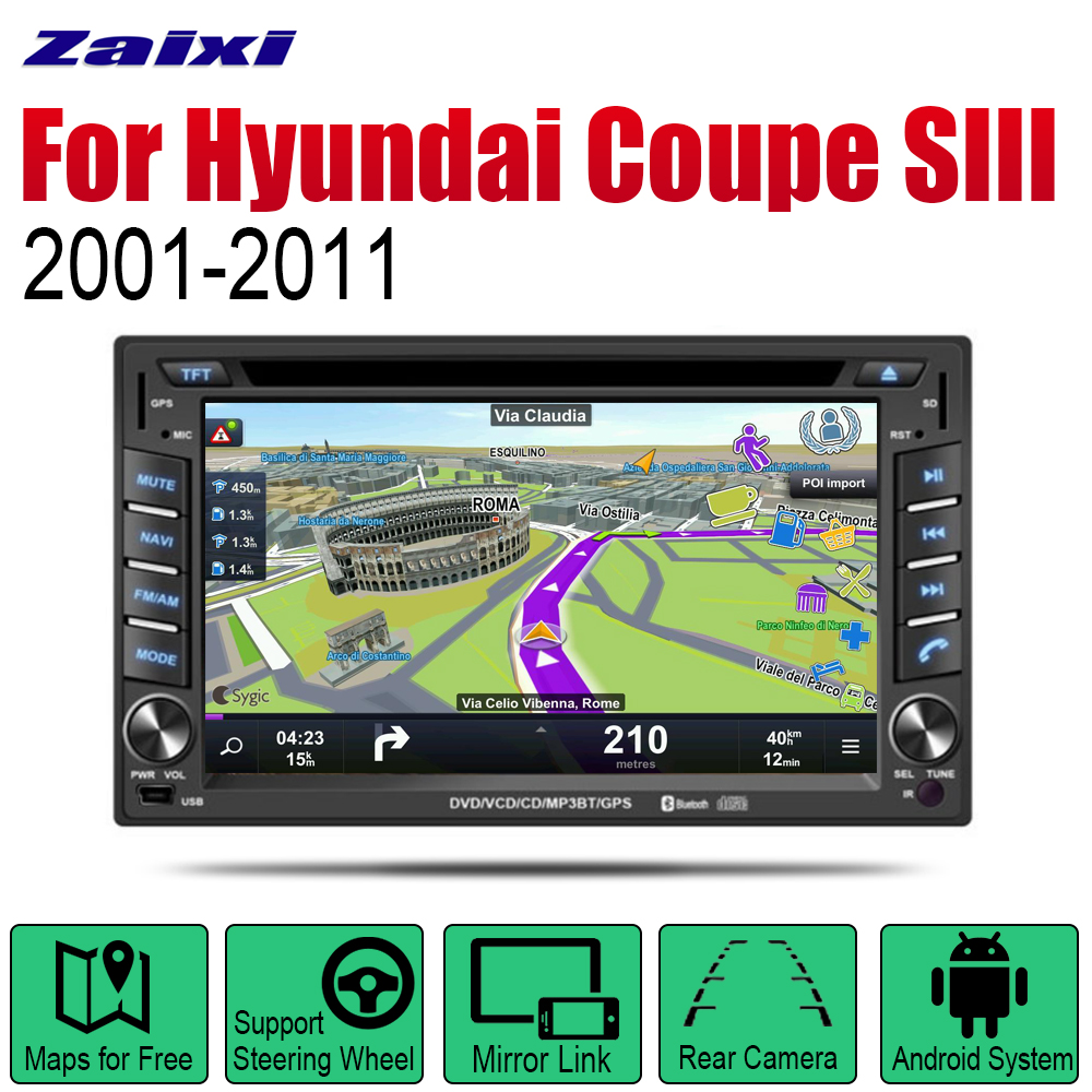 ZaiXi <font><b>Android</b></font> <font><b>2</b></font> <font><b>Din</b></font> Auto Radio DVD For Hyundai Coupe SIII <font><b>2001</b></font>~2011 Car Multimedia Player <font><b>GPS</b></font> Navigation System Radio Stereo image