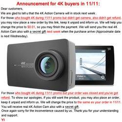 يي 4K عمل كاميرا Ambarella A9SE Cortex-A9 ARM 12MP CMOS 2.19 155 درجة EIS LDC واي فاي كاميرا رياضية أسود أبيض