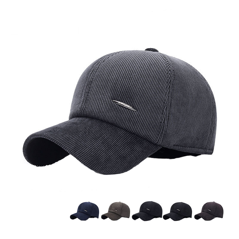 Men Winter Baseball Hat Snapback Cap with Earflaps Thicken Ear Protection Fitted Keep Warm Gorras Windproof шапка зимняя мужская