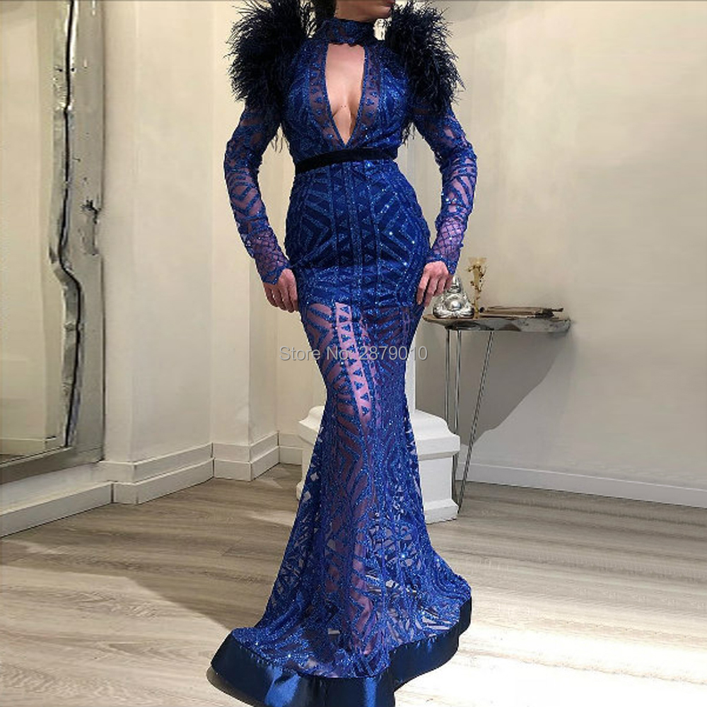 Dark Royal Blue V-Neck Mermaid/Trump Long Evening Dress Full Sleeves Full-length Metal Spraying Prom Dress Lady Dress Zipper
