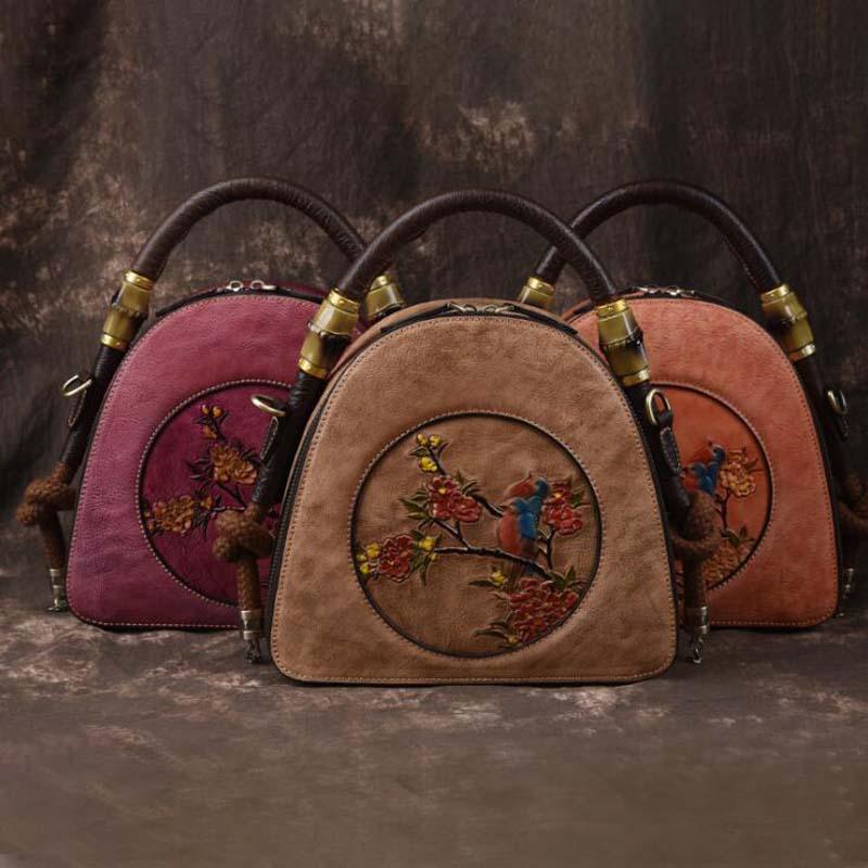 Vintage Women Handbags Embossed Genuine Leather Tote Bag Top-handle Embroidery Crossbody Shoulder Bag Lady Simple Hand Bags