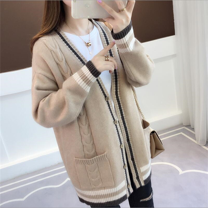 Knit Cardigan 2019 New Women's Spring And Autumn Jacket Chic Loose Striped Pockets Long Sweater Women's