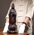 50CM Large GOOD 2019 HOME Spiritual efficacious Mascot Standing Guanyin Avalokitesvara buddha Ebony Wood Handmade carving statue