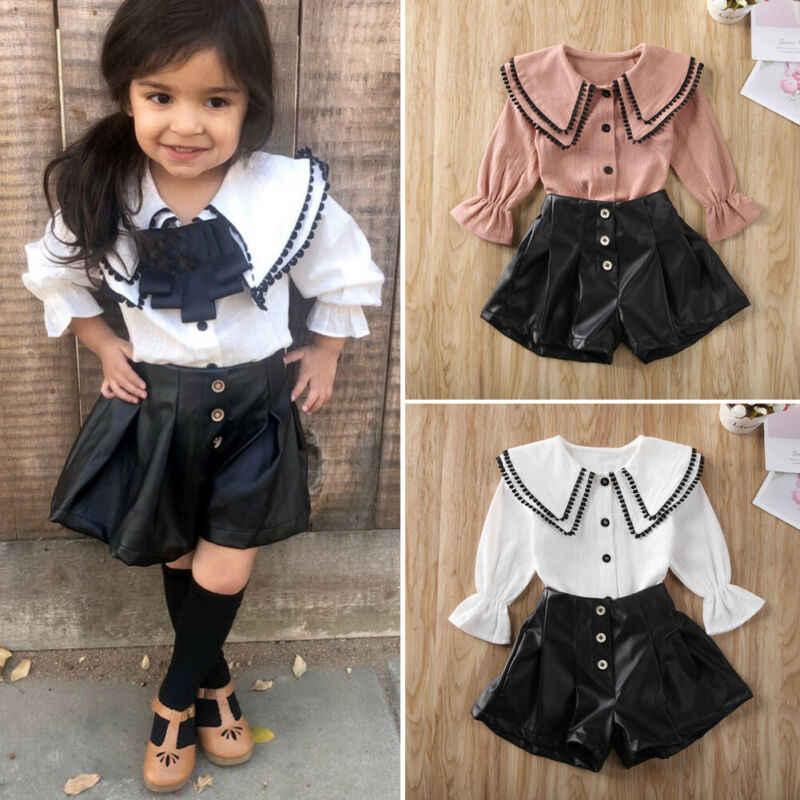 Imcute 2020 infantes niños bebés niñas botones otoño niños ropa de manga larga borla tapas camisa pantalones cortos de cuero trajes