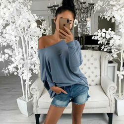 Auntum Winter Women's Casual Vintage T-shirts New Sexy Off Shoulder Tops Long Sleeve T Shirts Loose Sexy T Shirt Drop Shipping