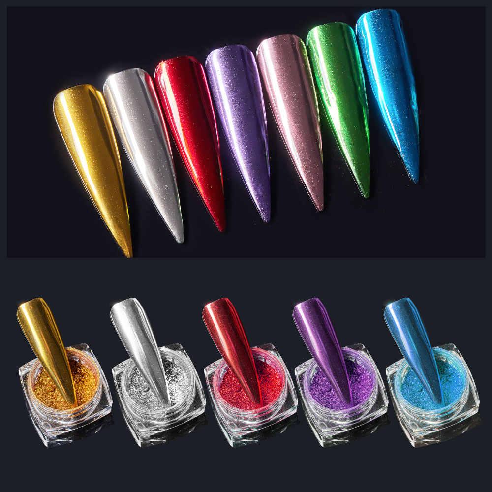 Meet Across Mirror Glitter Polvo Metálico Polvo Para Uñas Efecto Metal Dorado Plateado Brillante Gel Uv Para Arte De Uñas Polaco Cromo En Polvo