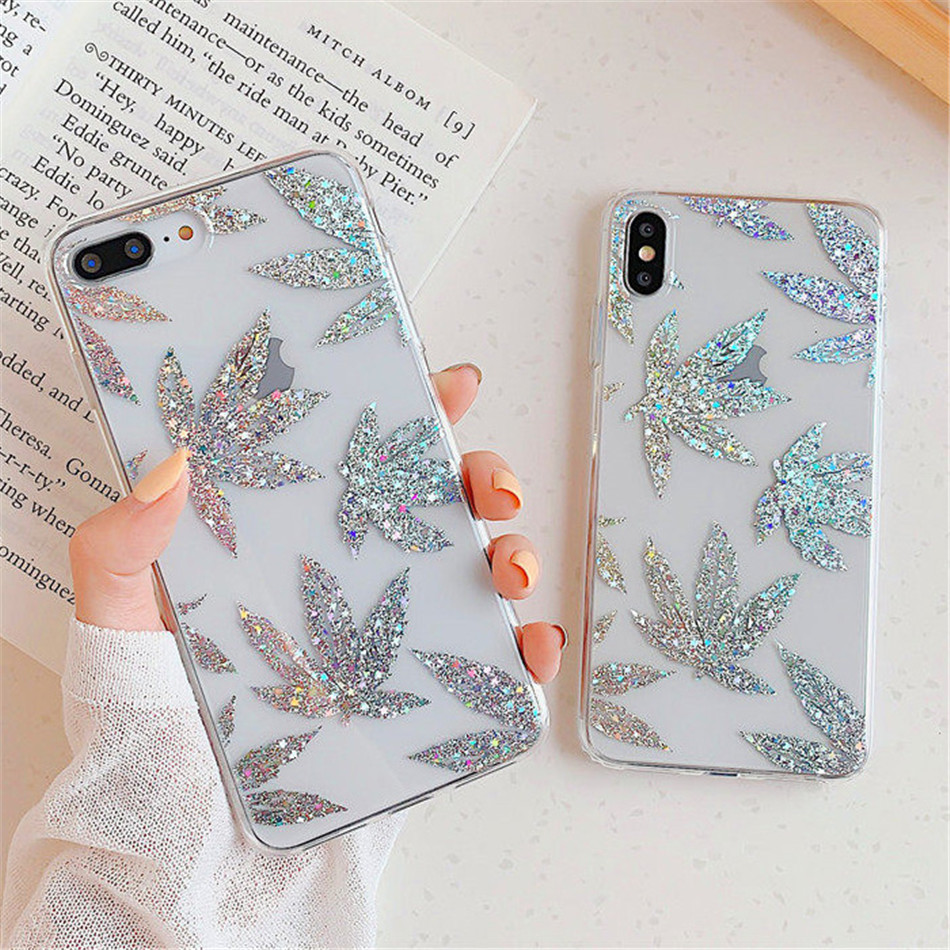 H17763a61f5e946cb88d4d081966c00b2S - USLION Glitter Gold Leaf Transparent Case For iPhone 11 Pro X XS Max XR 8 7 Plus 11 Clear Phone Back Cover Bling Pineapple Cases