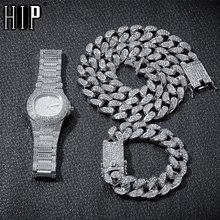 Hip Hop 1 Set Miami Cuban Chain Necklace +Bracelet +Watch Iced Out Paved Rhinestones CZ Bling Rapper Necklaces For Men Jewelry недорого