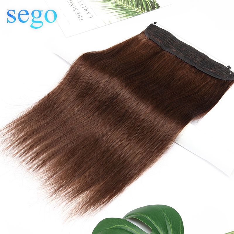 SEGO Straight 90g-120g Invisible Wire Flip In Hair Extensions Non-Remy Human Hair Weft Double Fish Line Brazilian Hair 16-22inch