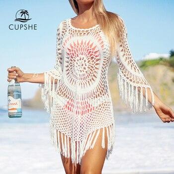 CUPSHE White Crochet Bikini Cover Up with Fringe Trim Women Sexy Hollow Tunic Beach Dress 2020 Summer Bathing Suit Beachwear