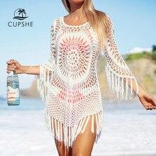CUPSHE – robe de plage blanche détail Crochet, Cover-Up avec franges, Sexy, ajouré, tunique, vêtements pour la plage, été, 2021