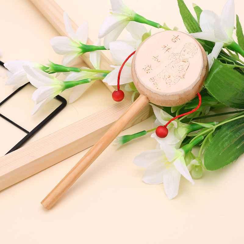 Drewno Cartoon chińskie tradycyjne Spinning grzechotka bęben dzwonek ręczny muzyczna zabawka dla dziecka 090B