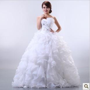 New Arrival 2016 Bride Wedding Formal Dress Fashion Elegant Bag Fluffy Wedding Dress Sweet Princess Wedding Dress Hj