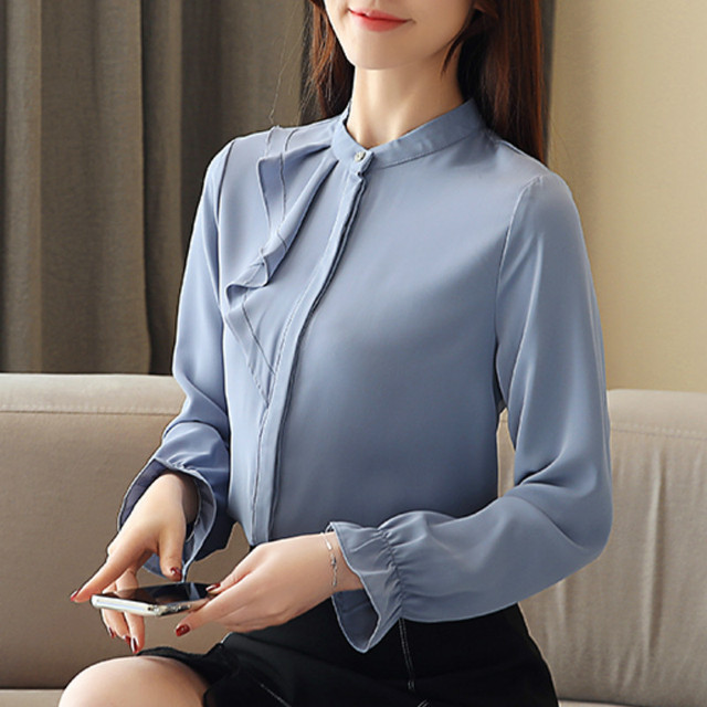Women Spring Autumn Chiffon Blouses Tops Chiffon Blouses Shirts Ladies ruffless Blouse Femme Long Sleeve Plus Size Blusas 1