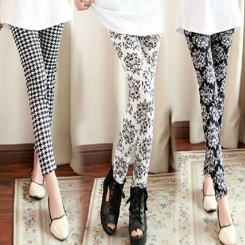 New Fashion Legging Digital Slim Sexy Black White Stripes Leggins Floral Printed Women Leggings Casual Sportwear Legging 820049