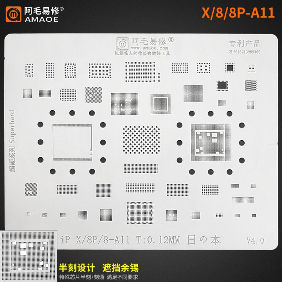 Amaoe CPU BGA Reballing Stencil for iPhone X 8 8P A11 RAM Nand Flash IC Chip 1