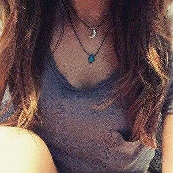 1pcs Turquoise Necklace Turquoise Drop Choker Turquoise Boho Layering Necklace Festival Hippie Tumblr Necklace