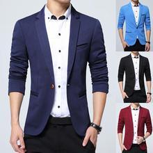 Мужской Блейзер, британский стиль, модный, черный, синий, деловой Блейзер, повседневный деловой пиджак, Свадебный, для жениха, приталенный пиджак, весна-осень