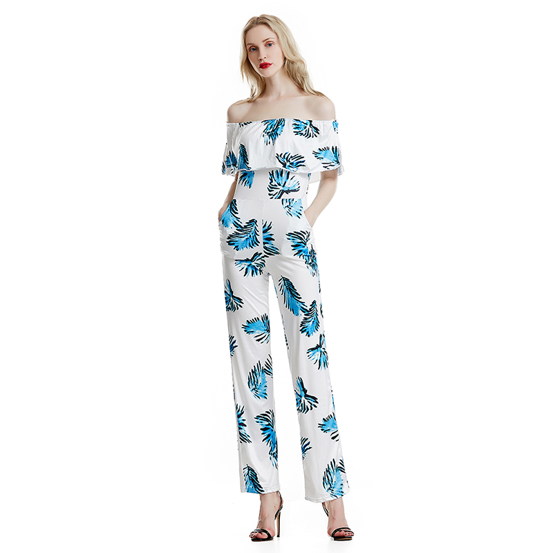 New Style Women Sexy Off Shoulder Jumpsuit Sleeveless Slash Neck Ladies Clubwear Summer Playsuit Beach Party Jumpsuit